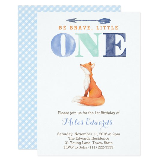 fox 1st Birthday Party Invite Cards for Boy