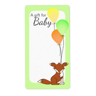 Fox and Balloon Baby Book Tags Green Shipping Label