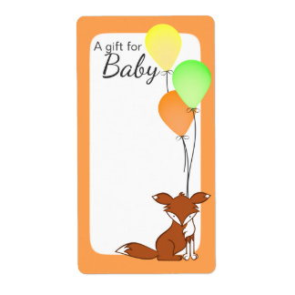Fox and Balloon Baby Book Tags Orange Shipping Label