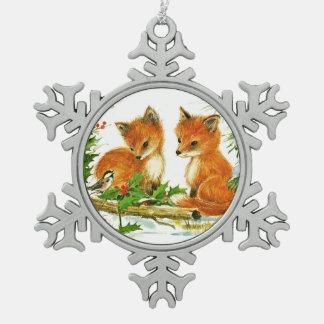 Fox and Bird Enjoy Christmas Snow Snowflake Pewter Christmas Ornament