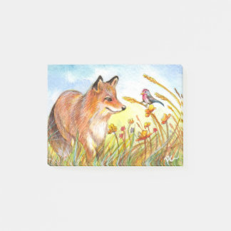 Fox And Bird In The Field Post-it Notes