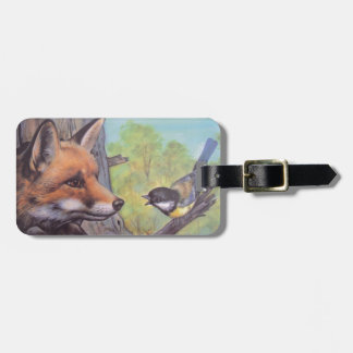 fox and bird luggage tag