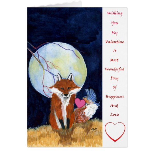 Fox and bluebird valentine card