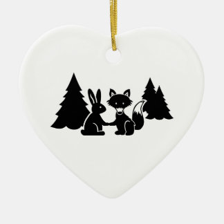Fox and bunny ceramic heart decoration
