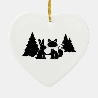 Fox and bunny christmas ornament
