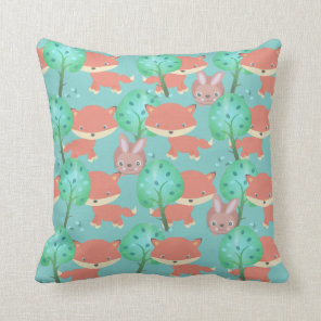 Fox and Bunny Woodland Pattern Cushion