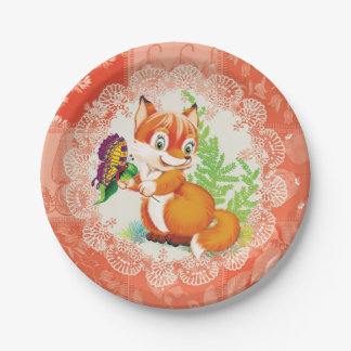 fox and butterfly 7 inch paper plate