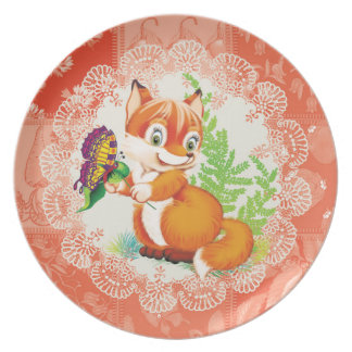 fox and butterfly party plates