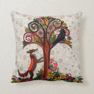 fox and crow cushion