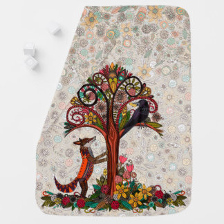 fox and crow receiving blanket