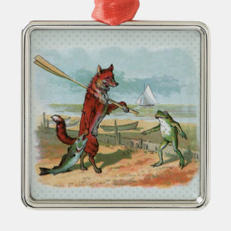 fox and frog vintage going fishing christmas ornament