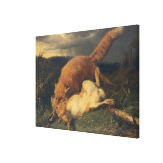 Fox and Hare, 1866 Canvas Print