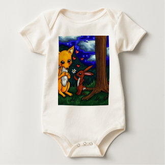 fox and hare love story baby bodysuit