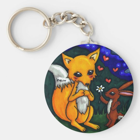 fox and hare love story basic round button key ring