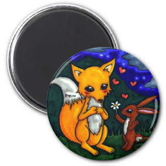 fox and hare love story refrigerator magnet