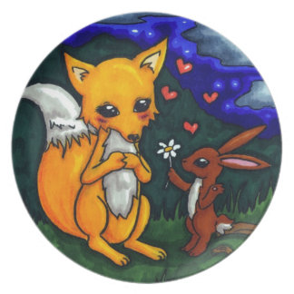fox and hare love story plate