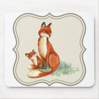 Fox and Kit Mouse Pad