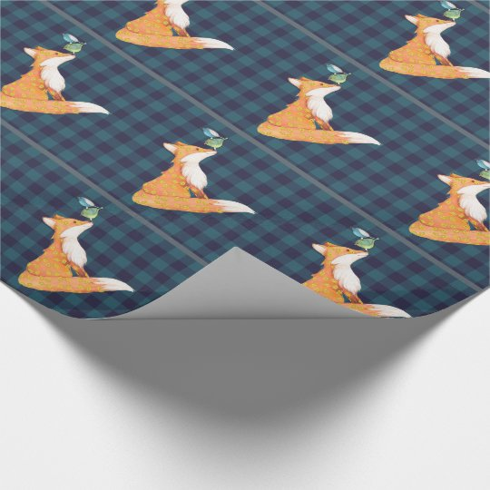 Fox and nosy birds gift wrapping paper