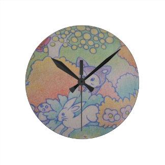 fox and rabbit round clocks