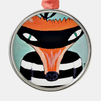 Fox and Robbers by PaperTree Silver-Colored Round Decoration