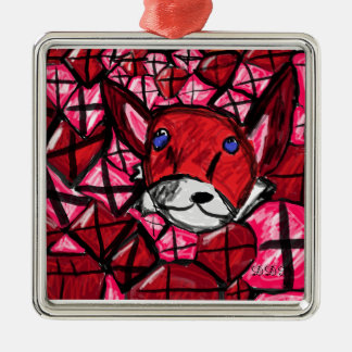 fox and rubys Silver-Colored square decoration
