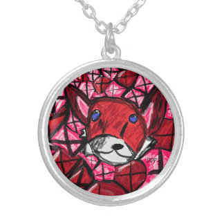 fox and rubys silver plated necklace