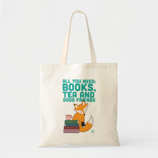 Fox And Tea Books&Friends Tote Bag