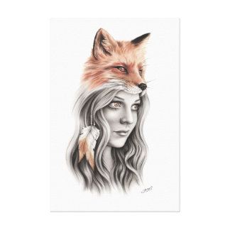 Fox and the girl Canvas Canvas Print