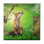 fox and the humming bird ceramic tiles
