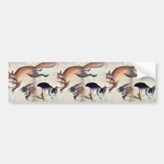 Fox and two hares Ukiyo-e. Bumper Sticker