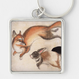 Fox and Two Hares, Vintage Japanese Painting Silver-Colored Square Key Ring