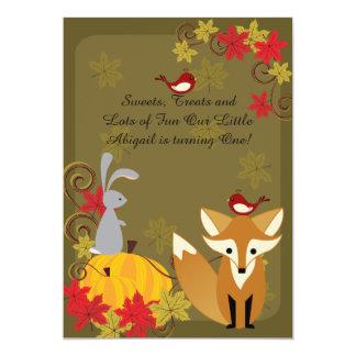 Fox and Woodland Animals Autumn 1st Birthday 13 Cm X 18 Cm Invitation Card