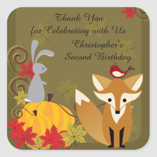 Fox and Woodland Animals Fall Birthday Thank You Square Sticker