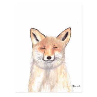 Fox animal nursery art postcard
