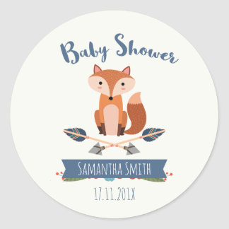 Fox Arrows Baby Shower Favor Sticker