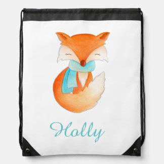 Fox art kids name aqua orange drawstring bag