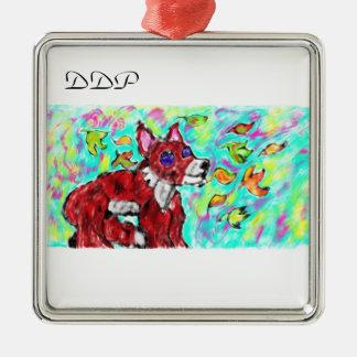 fox autumn art christmas ornament