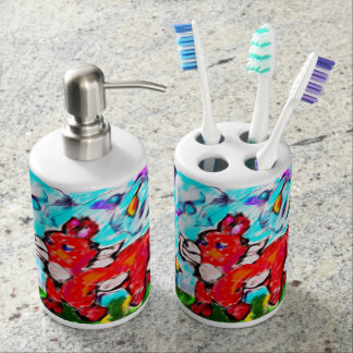 Fox autumn art two soap dispenser and toothbrush holder