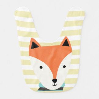 Fox Baby Bib with green stripes
