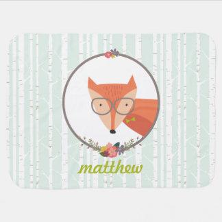 Fox Baby Boy Personalized Baby Blanket