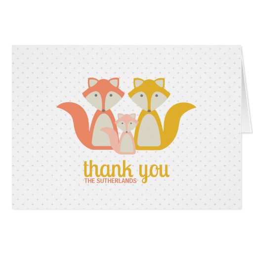 Fox Baby/Family Thank You Note Greeting Card