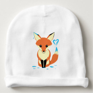 Fox Baby Painting Blue Heart With Tail Baby Beanie
