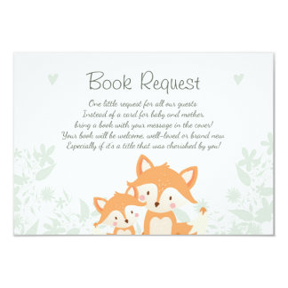 Fox Baby Shower Bring a book card Woodland