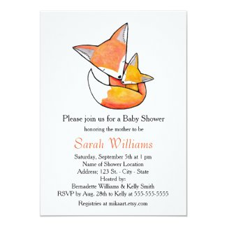 Fox Baby Shower Invitation Fox Mum Baby Woodland