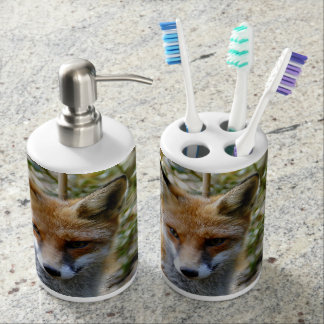 fox bathroom set, fox toothbrush holder & soap