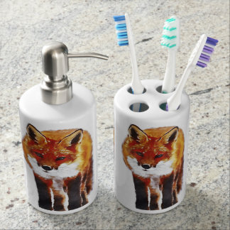 fox bathroom set, fox toothbrush holder & soap dis