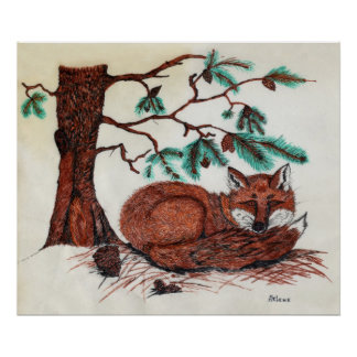 FOX Beneath Pine Bough Posters