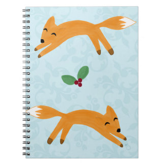 Fox & berries spiral notebook