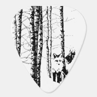 Fox Birch Tree Forest Animal Silhouette Nature Art Plectrum