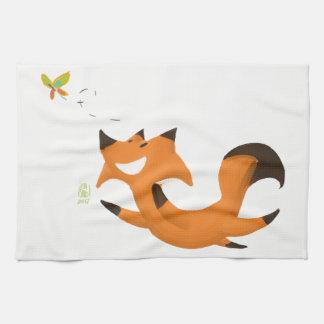 Fox butterfly tea towel